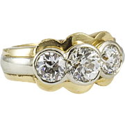 Old European Cut White and Yellow Gold Three Stone Ring 3.10 ct. tw.