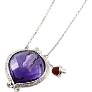 Vintage Unique Miniature Amethyst & Diamond Perfume Bottle Necklace