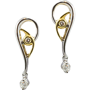 Vintage 18K White and Yellow Gold Diamond Earrings