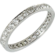 Vintage Platinum and Diamond Eternity Band Size 6.75