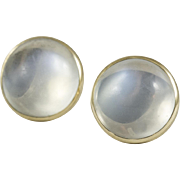 Vintage Moonstone and Gold Ear Studs