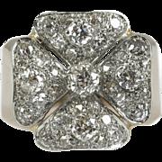 Vintage Rose Gold and Platinum Diamond Cluster Ring