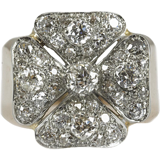 Vintage Rose Gold and Platinum Diamond Cluster Ring