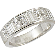 Vintage White Gold and Diamond Demi Band