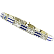 Art Deco Platinum Gold Diamond and Enamel Bracelet