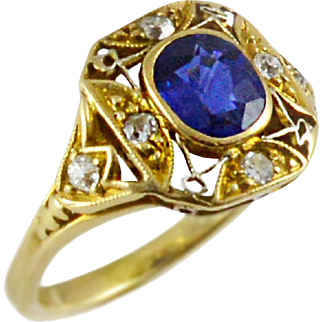 Edwardian Hand Made Diamond and Sapphire Ring
