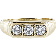 Vintage Yellow Gold Diamond 3 Stone Ring