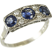 Vintage 3 Stone Sapphire Diamond Ring
