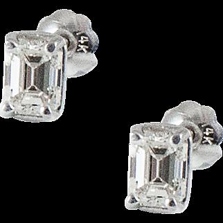 Vintage Emerald Cut Diamond Studs
