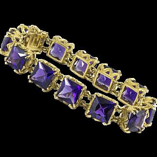 18K Gold Amethyst Bracelet