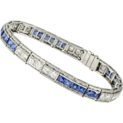 Art Deco Platinum Diamond and Sapphire Line Bracelet by: Howard H. Patch