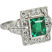 Art Deco Platinum Diamond and Emerald Ring