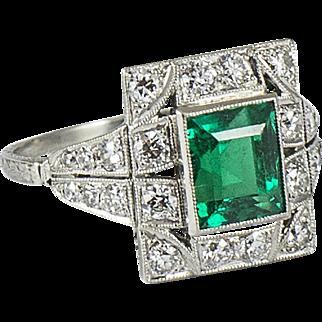 Art Deco Platinum Diamond and Emerald Ring