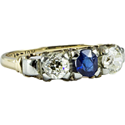 Vintage Gold Diamond and Sapphire Ring