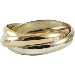 Classic Cartier Tri Colour Rolling Ring Size 9
