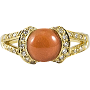Delightful Coral Diamond and Gold Ring