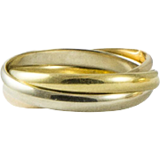Classic Tri Colour Cartier Rolling Ring Size 7.5