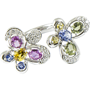 Sapphire Diamond and Gold Butterfly Ring