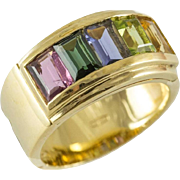 18K Multi Gemstone Band Ring