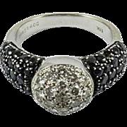 Vintage Techline Black Sapphire and White Diamond Ring