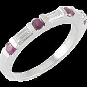Vintage Birks Ruby Diamond Demi Band Ring