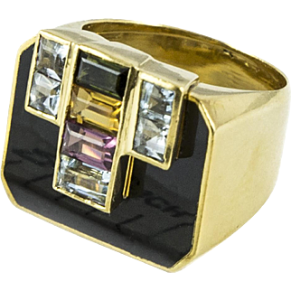18K Gemstone and Onyx Ring