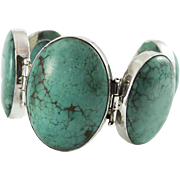 Vintage Dramatic Turquoise and silver bracelet