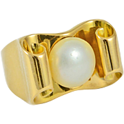 Vintage European 18K Yellow Gold and Pearl Ring