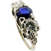 Vintage Classic Diamond and Sapphire 3-Stone Ring