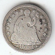 1854 Liberty Seated Half Dime Variety 3 with Arrows at Date Good