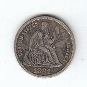 1884 Liberty Seated Dime Variety 4 Legend on Obverse Choice VF 30
