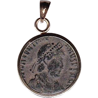 14 Karat Gold Ancient Coin Jewelry Pendant Roman Emperor Constantine I Authentic
