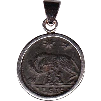 Sterling Silver Ancient Coin Jewelry Pendant Rome Commemorative Constantine the Great Authentic