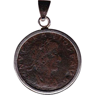 Sterling Silver Ancient Coin Jewelry Pendant Roman Emperor Vetranio Authentic