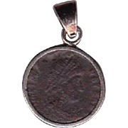 Sterling Silver Ancient Coin Jewelry Pendant Roman Emperor Gratian 359-383 AD Authentic