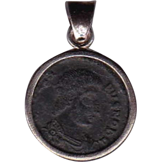 Sterling Silver Ancient Coin Jewelry Pendant Roman Emperor Constanitius Gallus 351-354 AD Authentic