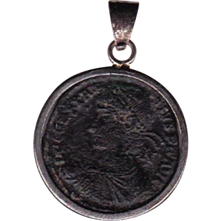 Sterling Silver Ancient Coin Jewelry Pendant Roman Emperor Constantius II, 337-361 AD Authentic