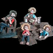 4 Vintage Napco Americana Figurines Bozo  2 Boys fishing  and Maestro  Japan