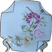China Plate Hand Painted  Roses Two Corners folded down with gold embossing Design