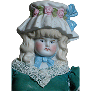 German Bisque Bonnet Shoulder head Doll