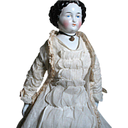 Beautiful Antique German China Shoulder head doll Wonderful Original Clothes