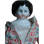 Antique Small China Shoulder Head Doll with Printed Corset Cloth Body