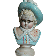 German Porcelain Bust  of Boy With Glasses