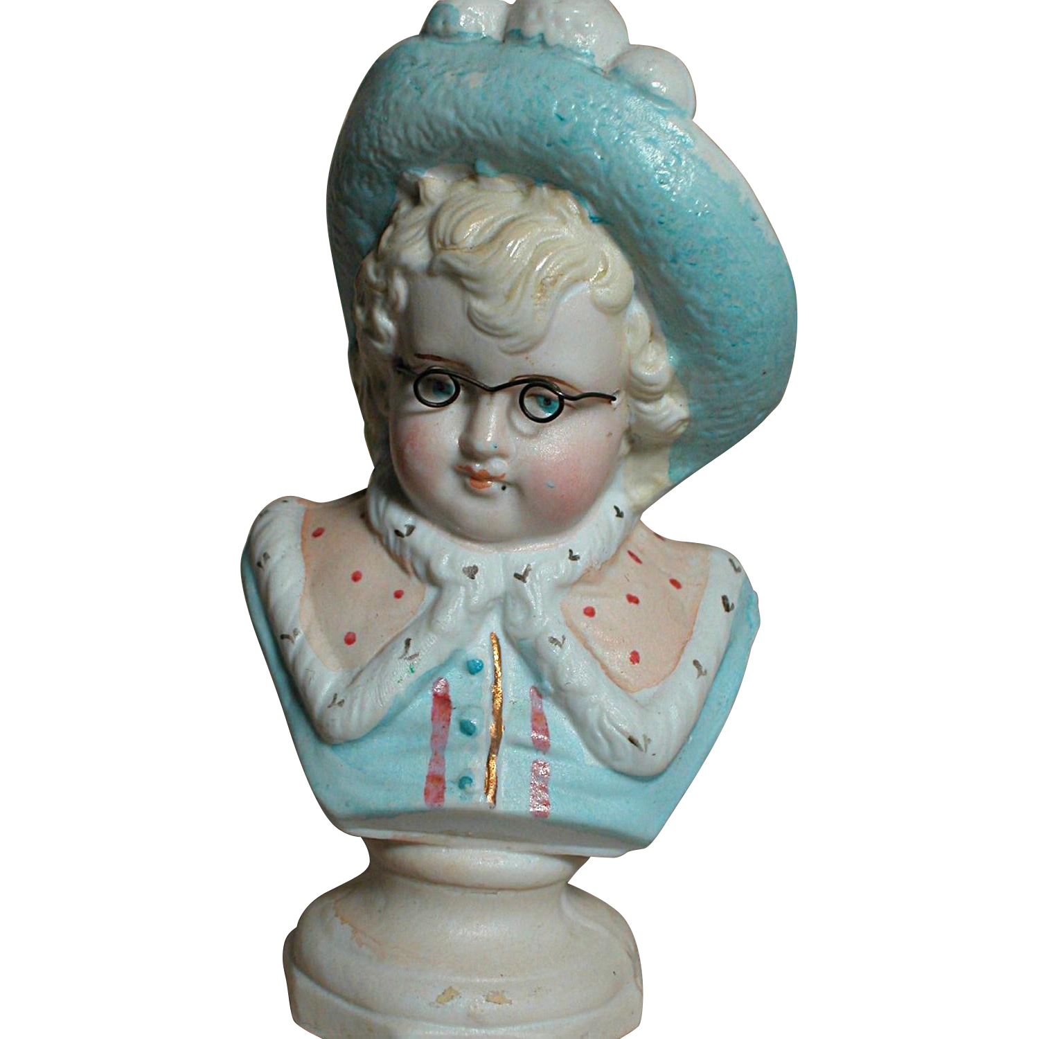 German Porcelain Bust Of Boy With Glasses Ann Marie S