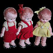 Three Knickerbocker Hard Plastic dolls in Original Knit Oufits