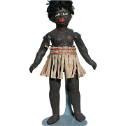 Antique Small Dollhouse size  Black Ethnic Doll  Great Features  Grass Skirt  Bare Foot