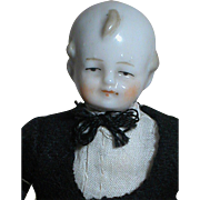 German Dollhouse Doll China shoulder Head  Man dress in a Tux Black Outfit