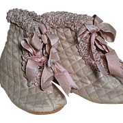 Pink Quilted  Doll Boots With  Leather soles  Vintage