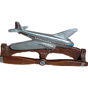 Nostalgic Wood Airplane Tie Rack Front is a Airplane Propeller  Holes to Mount on Wall