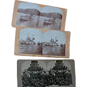Three Stereo View Cards Wartime Ships  Wisconsin  Merimac  Oregan